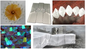 Fig. 1. Clockwise from upper left: Prototype origami solar panel (Magleby and Howell), kirigami channels for water management (Kamien and Yang), tetrahedral building blocks for modular robotics (Yim), building-scale installation demonstrating kirigami reconfigurable color folds (Sabin), and temporary, self-folding shelters (Kim).