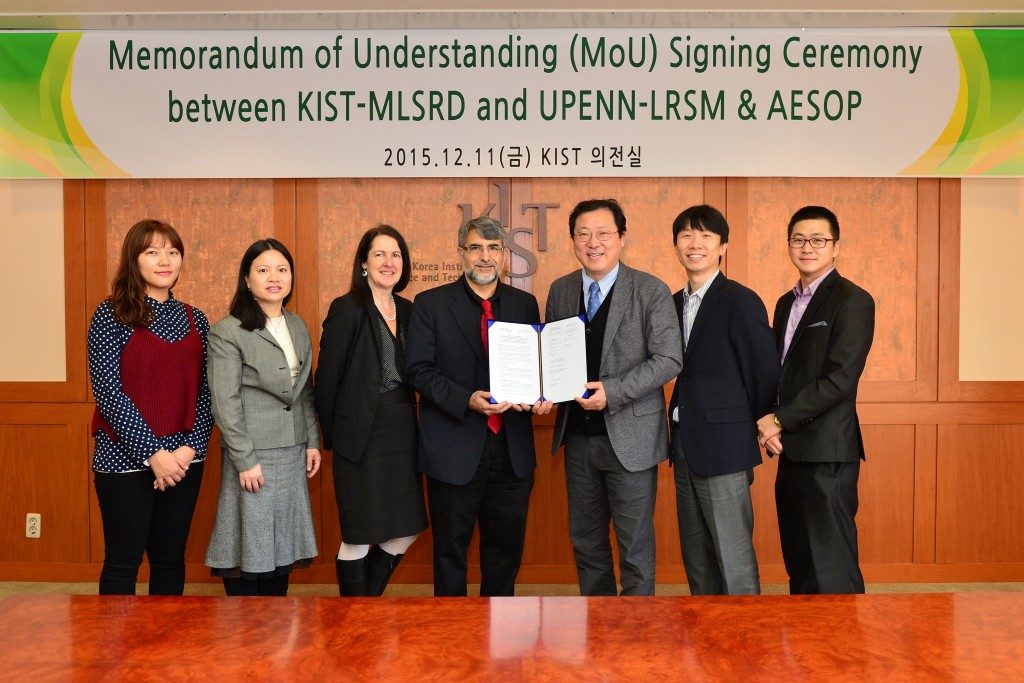 Memorandom of Understanding Signing Ceremony between KIST-MLSRD and UPENN-LRSM & AESOP